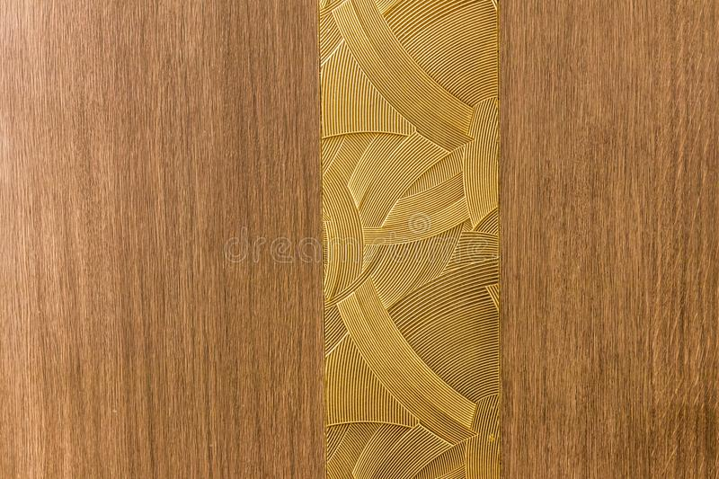Design made by a combination of lines pattern. With wood like background stock image