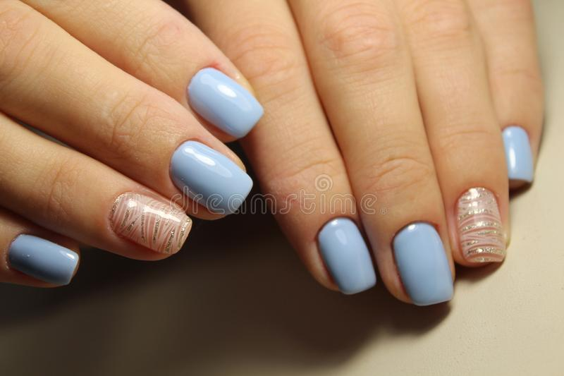 Manicure Design Lines, Blue Nails Stock Photo - Image of abstract ...