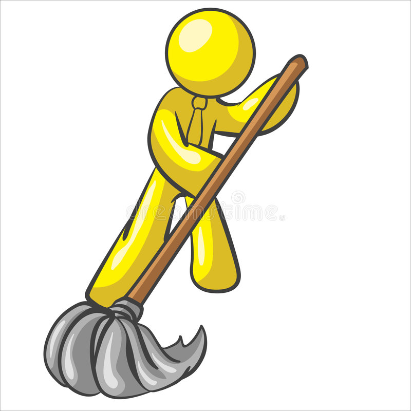 Design Mascot Mopping Floor Royalty Free Stock Photo