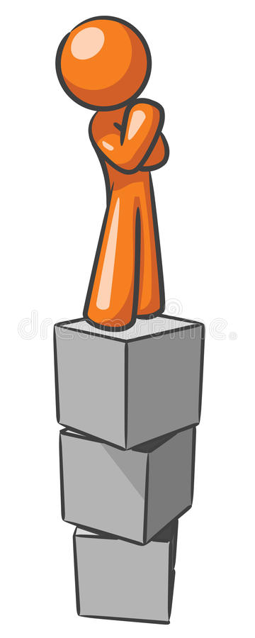 Design Mascot Standing On Blocks Royalty Free Stock Images
