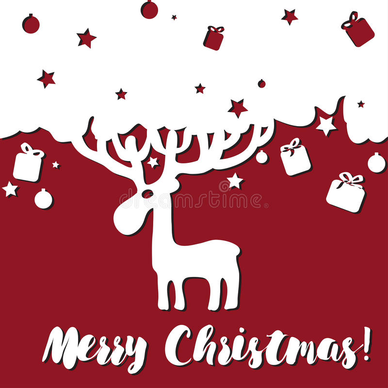 Design Merry Christmas card with deer. And stars. Design for invitation card, stickers, greeting. for Happy merry christmas stock illustration
