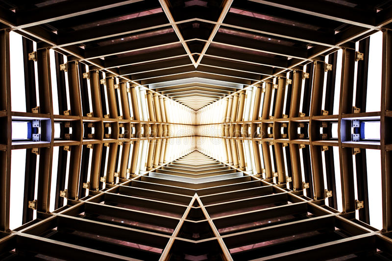 Design of metal structure similar to spaceship interior, perspective view.  royalty free stock photos
