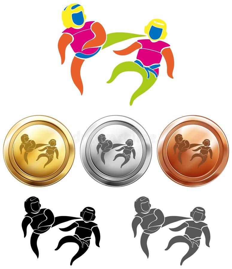 Design mit drei Medaillen für Taekwondo lizenzfreie abbildung