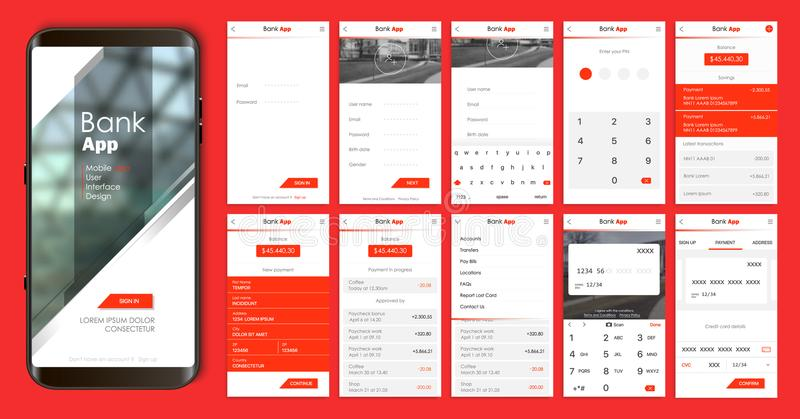 Design of the mobile application, UI, UX. A set of GUI screens with login and password input. Home page, news feed, rating and statistics, settings and payment stock illustration