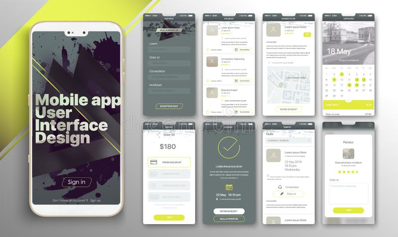 Design of the mobile application, UI, UX. A set of GUI screens with login and password input, home page, news feed, rating and statistics, settings and payment royalty free illustration