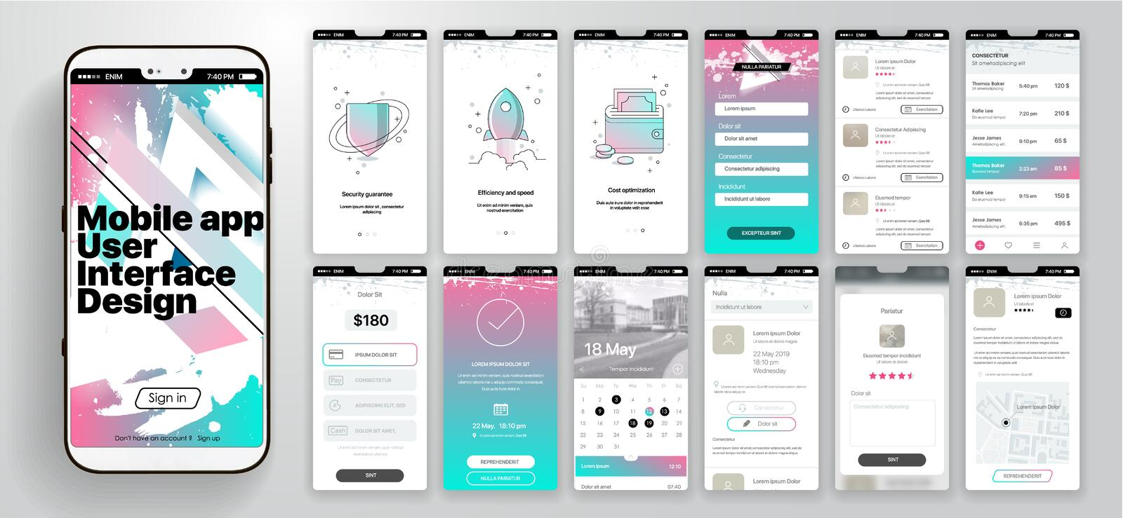 Design of the mobile application, UI, UX. A set of GUI screens with login and password input, home page, news feed. Rating and statistics, settings and payment royalty free illustration