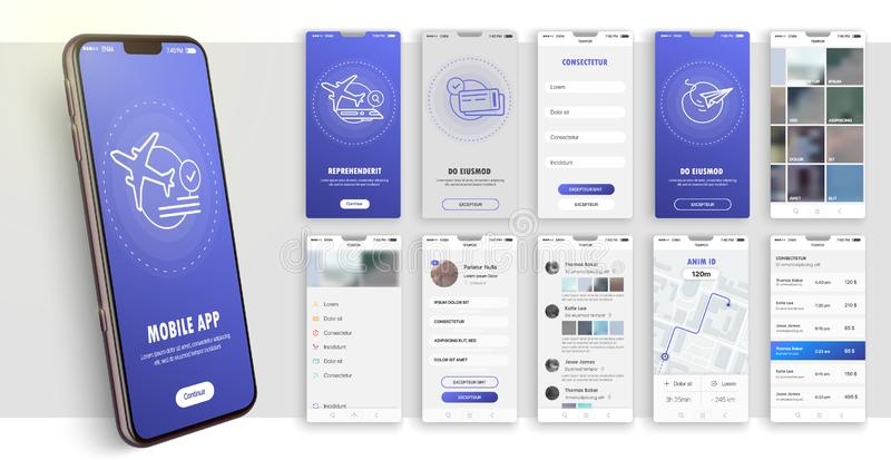 Design of the mobile application, UI, UX. A set of GUI screens with login and password input. Travel and ticketing , rating and statistics settings and payment royalty free illustration