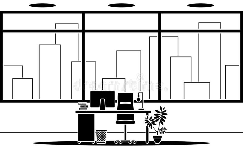 Design of modern empty office working place front view vector icon. Table, desk, chair, computer, desktop silhouette royalty free illustration