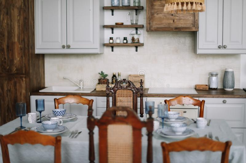 The Design Of The Modern Home Kitchen In Rustic Style