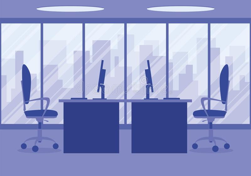 Design of a modern office designer workplace in purple stock photos