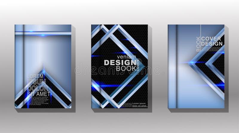 Design moderno in background Raccolta di vettori di copertina del libro con pattern di forma triangolare blu su esagoni neri illustrazione vettoriale