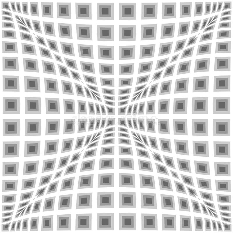 Design monochrome warped checked pattern royalty free illustration