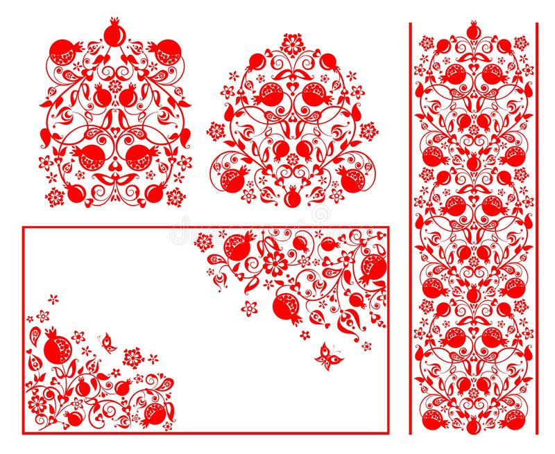 Red design for Moslem wedding greetings with abstract floral pattern with pomegranate. Design for Moslem wedding greetings with abstract floral red pattern with royalty free illustration