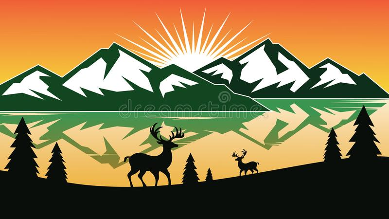 Design mountain background with deer inside and a pine tree. Logo design Template. Vector illustration. vector illustration