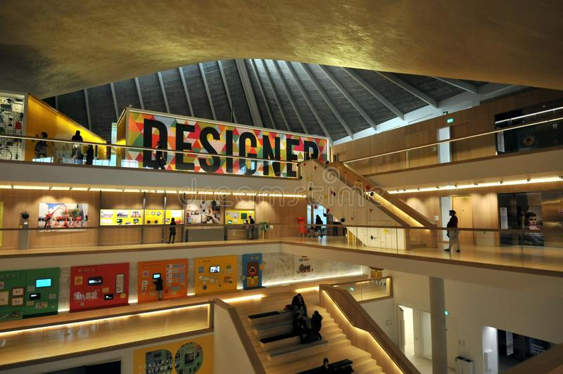 The Design Museum is a museum in Kensington, London, which covers product, industrial, graphic, fashion, and architectural design royalty free stock photo