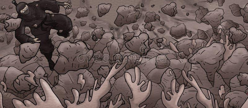 Design of ninja in rock cavern. Creative design of ninja in rock cavern vector illustration