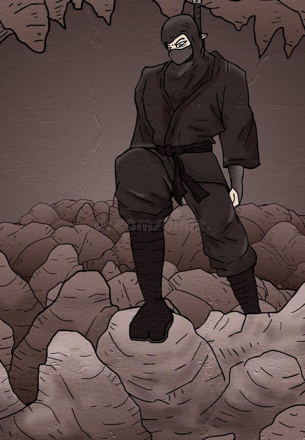 Design of ninja in rock cavern. Creative design of ninja in rock cavern royalty free illustration