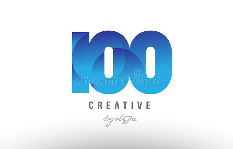 100 blue gradient number numeral digit logo icon design. Design of number numeral digit 100 with blue gradient color suitable as a logo for a company or business stock illustration