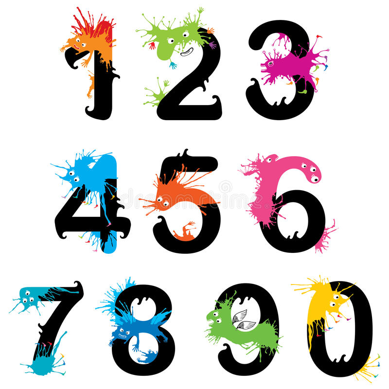 Design numbers set with Funny monsters vector illustration