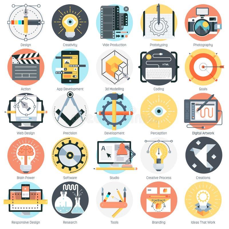 Design- och produktiontema, lägenhetstil som är färgrik, symbol s vektor illustrationer