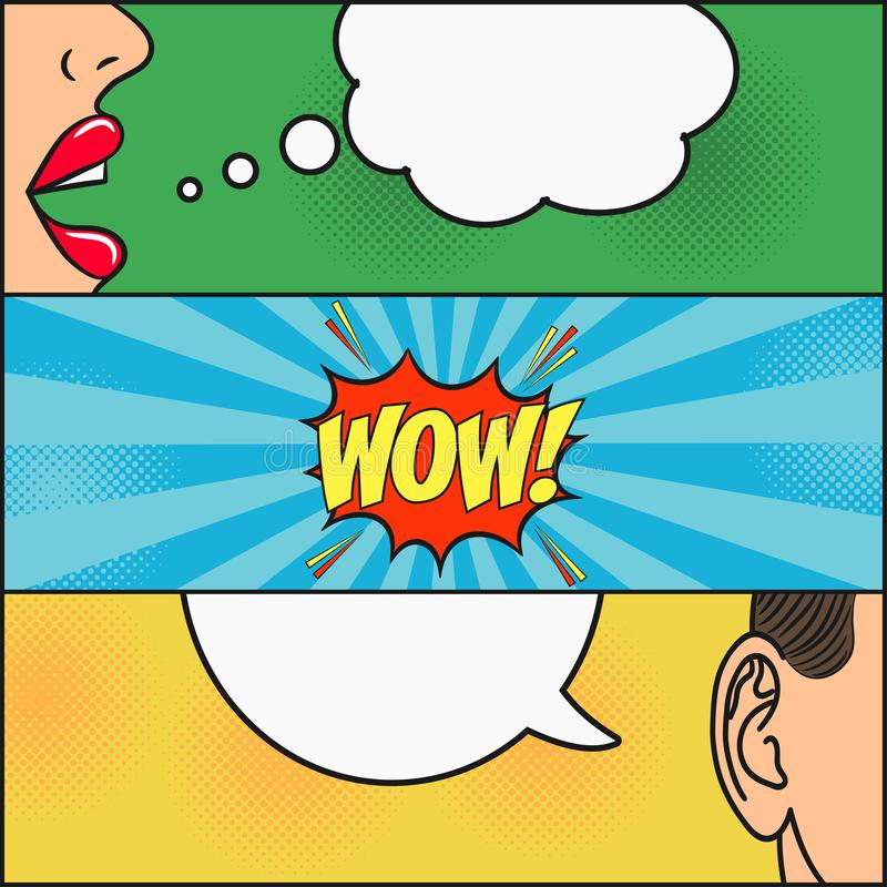 Free Design Of Comic Book Page. Dialog Of Girl And Guy With Speech Bubble With Emotions - WOW. Woman Lips And Mans Ear. Vector. Royalty Free Stock Photos - 109039448