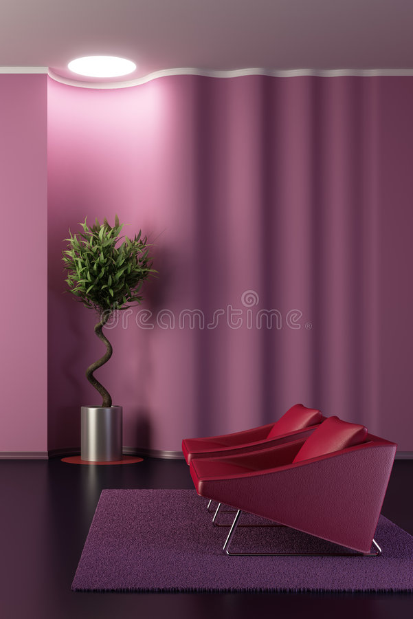 Free Design Of The Lounge Room With Wavy Wall Royalty Free Stock Images - 8843159