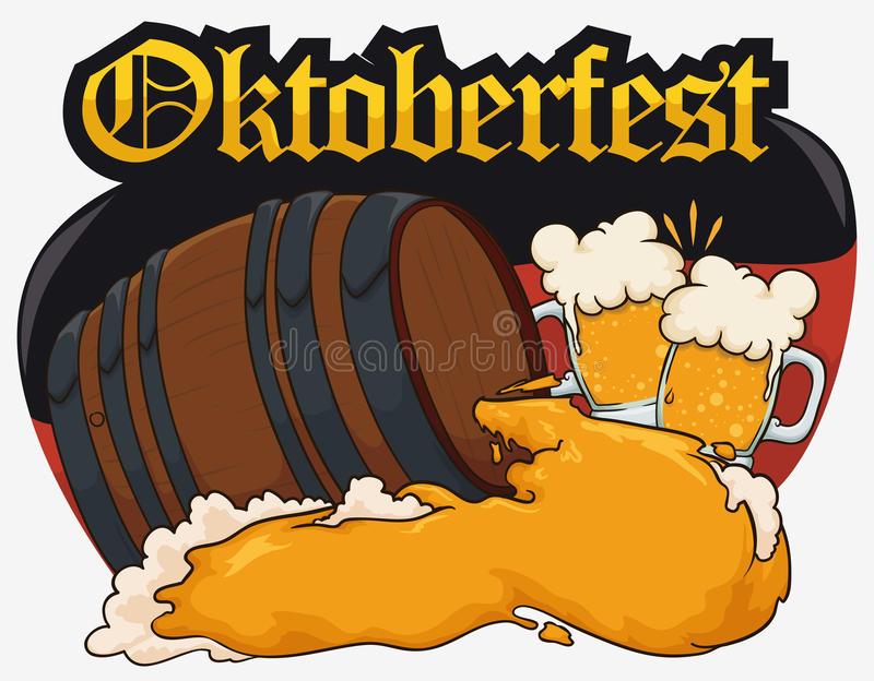 Design for Oktoberfest with Beer Barrel, Cheers forming Germany Flag, Vector Illustration vector illustration