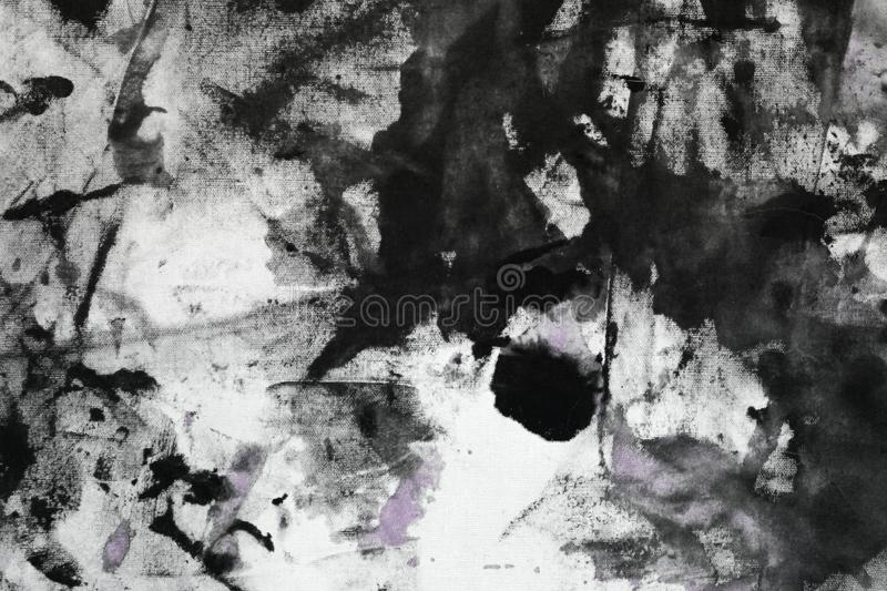 Creative shabby purple randomly painted canvas, fabric with color paint spots and blots texture for use as background stock illustration