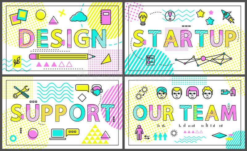 Design and Our Team Collection Vector Illustration stock illustration