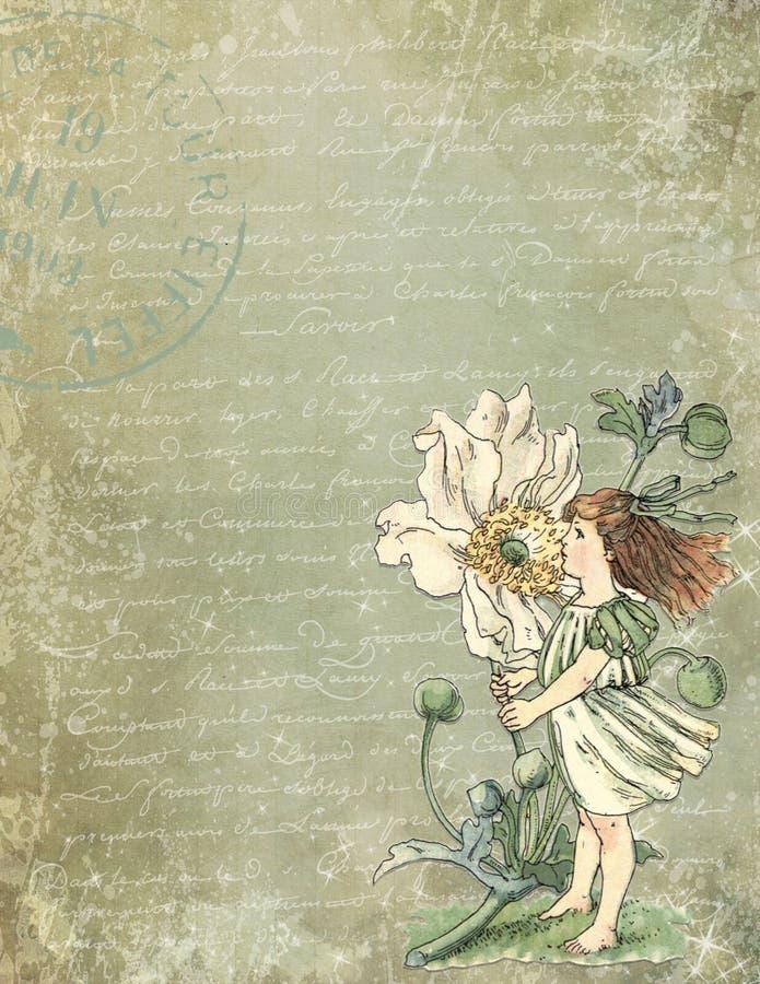 Printable Digital Paper - Vintage Garden Flower Illustration - Distressed Textures -Garden Fairy - Child. This design pairs vintage calligraphy with a vintage stock illustration