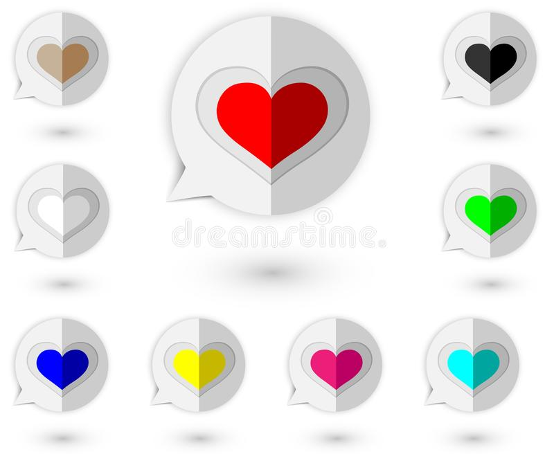 `Design of paper style icons, speech bubbles with various love symbols in the form of vectors.Suitable for designing graphic works. In love theme.Used on the stock illustration