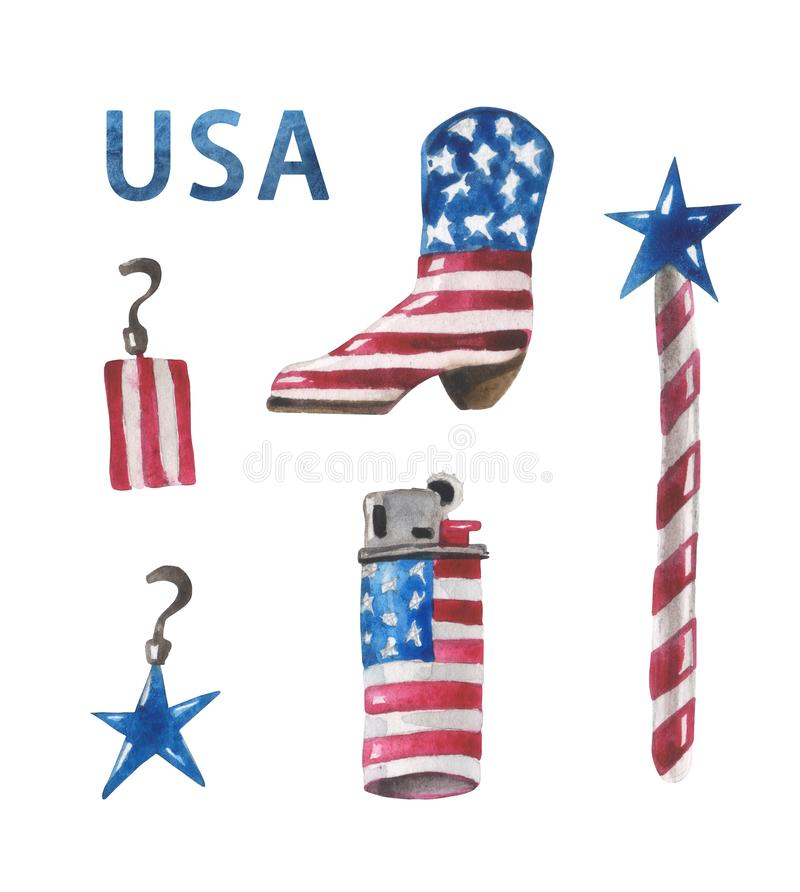 Watercolor set of stylized earrings, a cowboy-style boot, a star on a stick and a lighter in the colors of the US flag. stock illustration