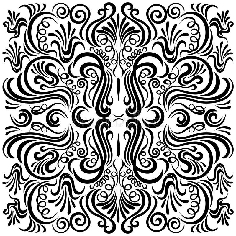 Design pattern with swirling floral decorative orn royalty free illustration