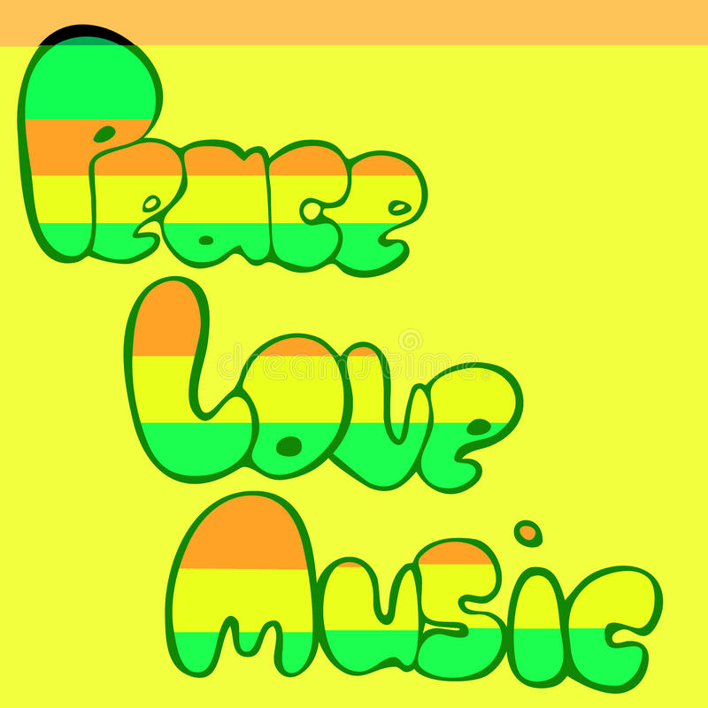 Download Design Of Peace, Love And Music In Bubble Style In Green, Yellow And Red Colors. Vector Illustration. Stock Vector - Illustration of legalize, clipart: 83706729