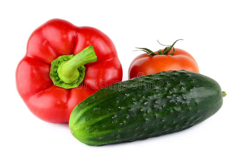 Design pepper, tomato, cucumber isolated on white. stock photography