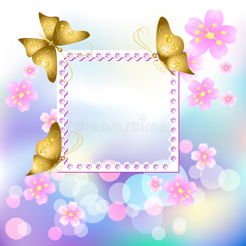 Design Photo Frames With Flowers And Butterfly Stock Vector ...
