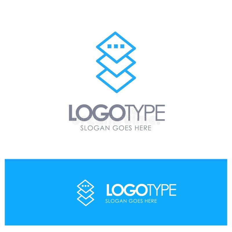Design, Plane, Square Blue Outline Logo Place für Tagline stock abbildung