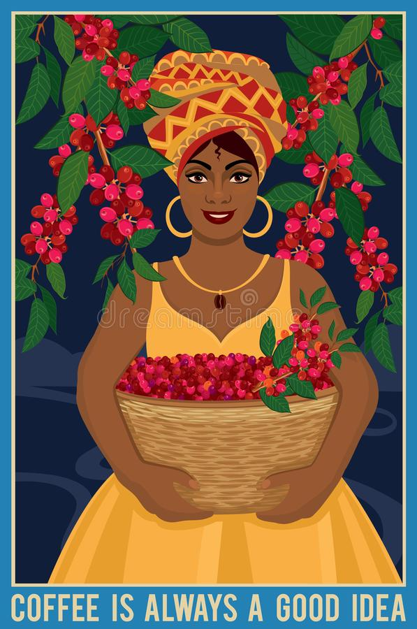 Design of a poster with african woman with a basket harvests arabica coffee beans royalty free illustration