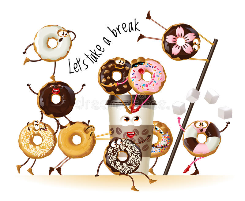 Design a poster with cartoon characters donuts. Illustration design a poster with cartoon characters donuts royalty free illustration