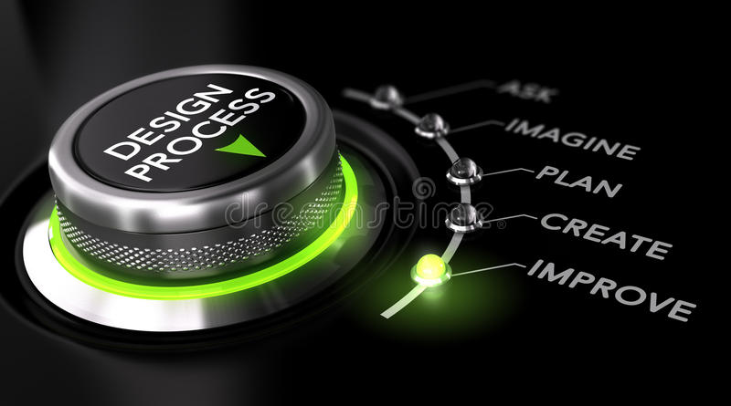 Design Process. Switch button with green light, black background. Conceptual image for illustration of engineering design process stock illustration