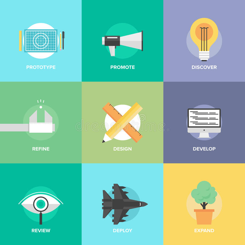 Design product development flat icons stock illustration