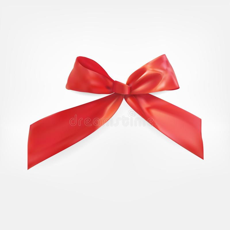 Design Product Red Ribbon and Bow. 3D Realistic Vector Illustration royalty free illustration