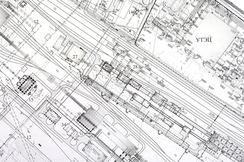 Design and project drawings. stock image