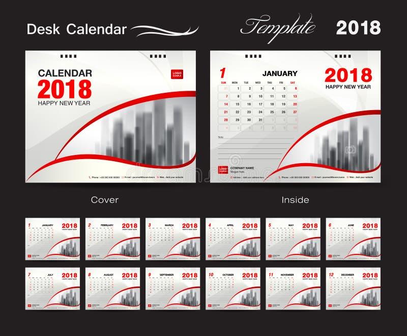 Design 2018, röd räkning, uppsättning för mall för skrivbordkalender av 12 månader, stock illustrationer