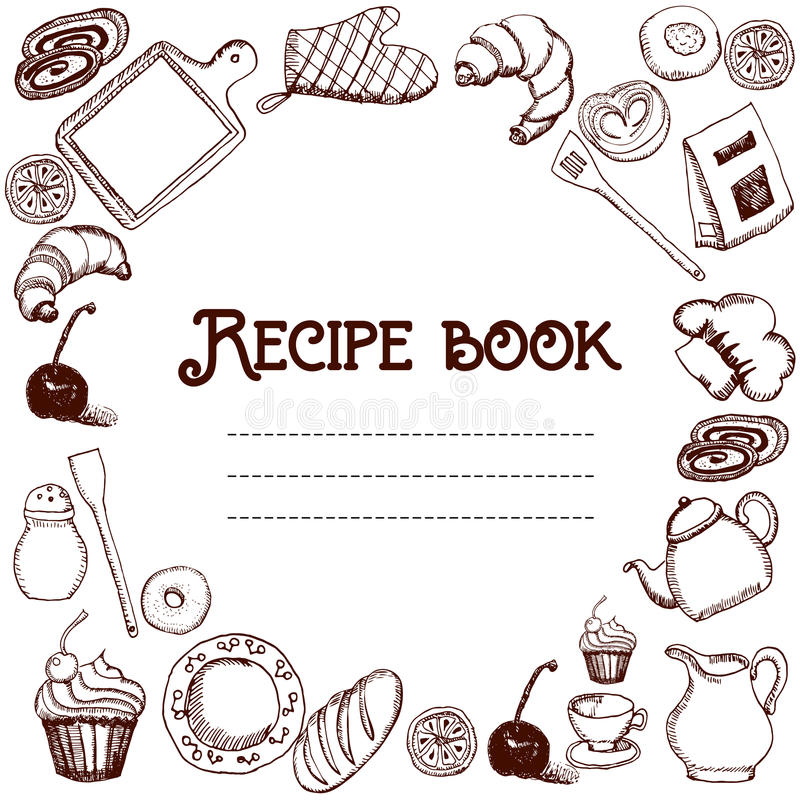 Design Of Recipes Book Hand Drawn Doodles Objects Food And Utensils