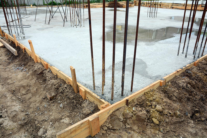 Design of reinforced concrete foundations. Made from steel reinforced concrete and the mold made from timber. Design of reinforced concrete foundations. Made royalty free stock photos