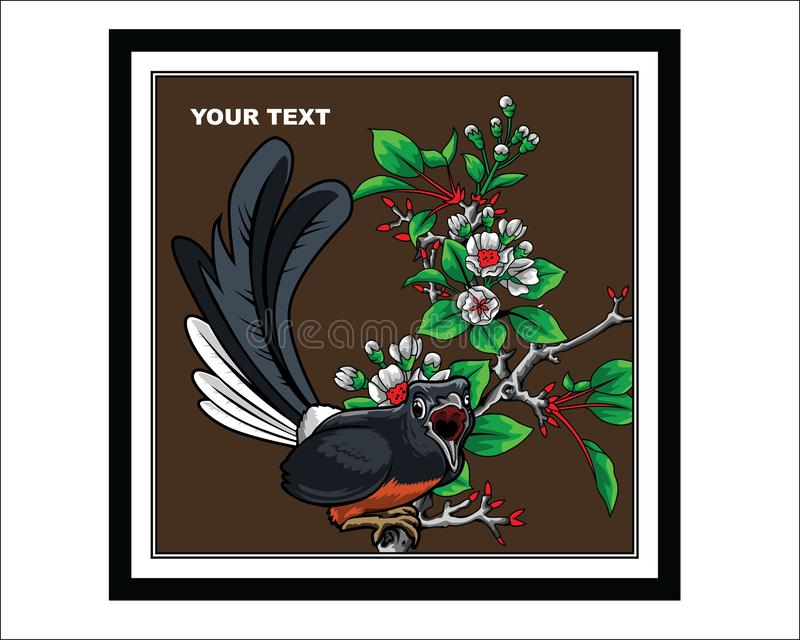 a design of a rock magpie stock illustration
