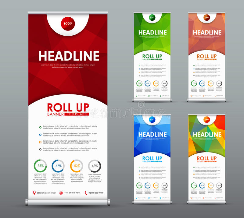 Design roll up banner for business and advertising with a red, g royalty free illustration