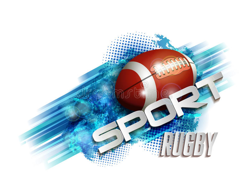 Design with rugby ball. Pattern design with Rugby ball, sport text royalty free illustration