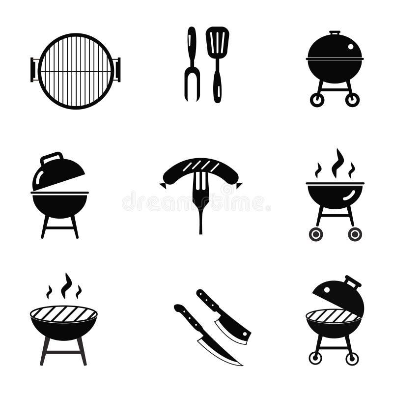 Design-Schablonenillustration Vektorgrillrestaurant-Parteifamilienabendessensommerpicknicklebensmittelsymbolikone der auf Lager f lizenzfreie abbildung